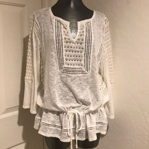 LUCKY BRAND XL White boho lace top NEW